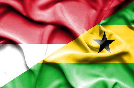 principe: Ondeando la bandera de Santo Tomé y Príncipe y Mónaco Foto de archivo