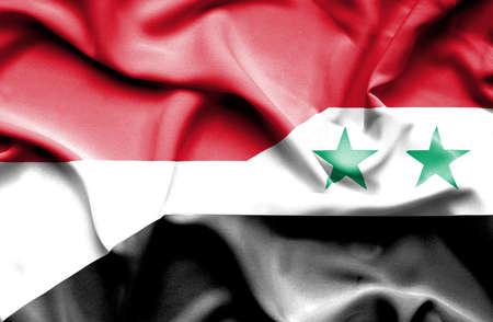 syria peace: Waving flag of Syria and Monaco