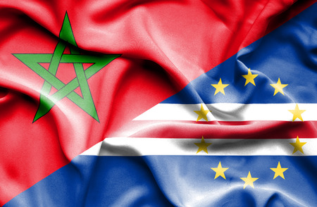 verde: Waving flag of Cape Verde and Morocco Stock Photo