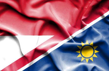 monaco: Waving flag of Namibia and Monaco Stock Photo