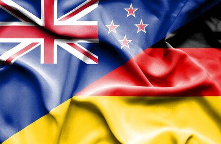 bandera de nueva zelanda: Ondeando la bandera de Alemania y Nueva Zelanda