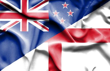 new england: Waving flag of England and New Zealand Stock Photo