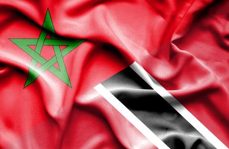 tobago: Waving flag of Trinidad and Tobago and Morocco