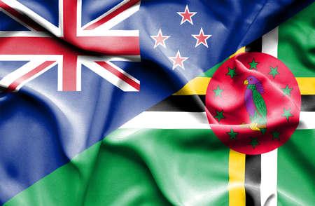 bandera de nueva zelanda: Ondeando la bandera de Dominica y Nueva Zelanda