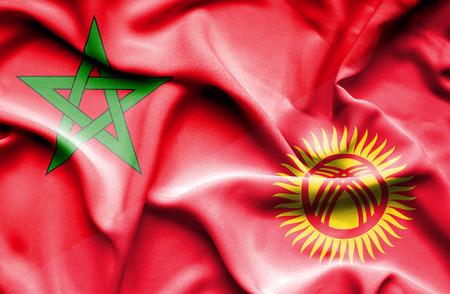 kyrgyzstan: Ondeando la bandera de Kirguistán y Marruecos