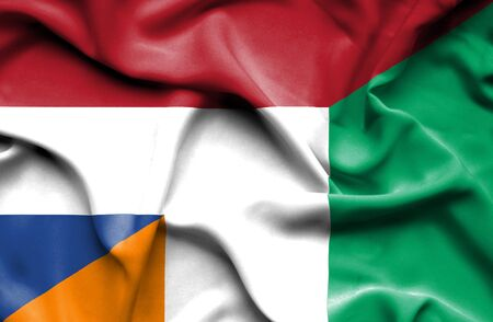 coast: Waving flag of Ivory Coast and