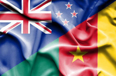 cameroon: Waving flag of Cameroon and New Zealand