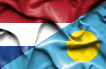 palau: Waving flag of Palau and Stock Photo