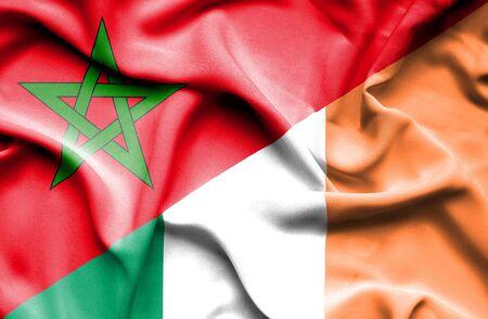 irish history: Waving flag of Ireland and Morocco Stock Photo