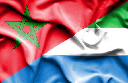 sierra: Waving flag of Sierra Leone and Morocco