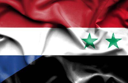 syria: Waving flag of Syria and Stock Photo