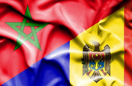 moldavia: Waving flag of Moldavia and Morocco