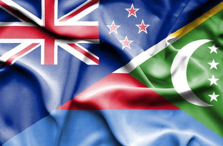 bandera de nueva zelanda: Ondeando la bandera de Comoras y Nueva Zelanda Foto de archivo