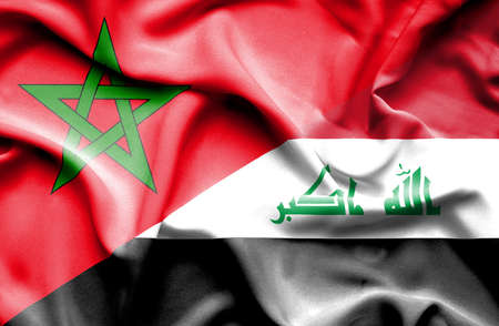 iraq conflict: Waving flag of Iraq and Morocco