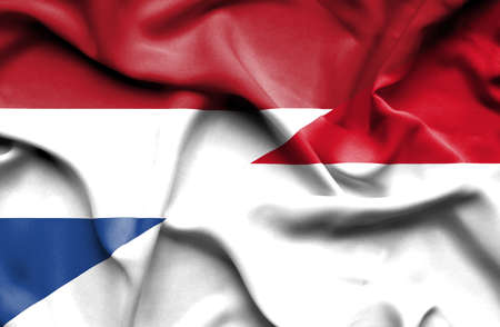 monaco: Waving flag of Monaco and