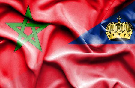 lichtenstein: Waving flag of Lichtenstein and Morocco