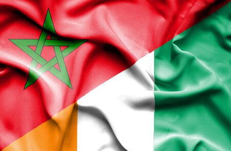 ivory: Waving flag of Ivory Coast and Morocco