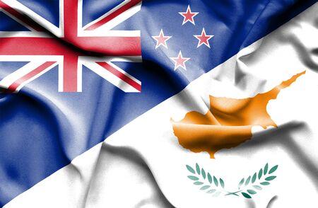 bandera de nueva zelanda: Ondeando la bandera de Chipre y Nueva Zelanda Foto de archivo