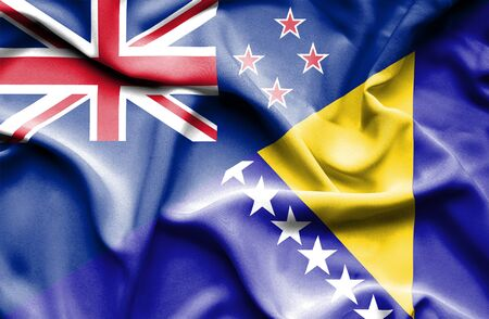 bosnia: Waving flag of Bosnia and Herzegovina and New Zealand