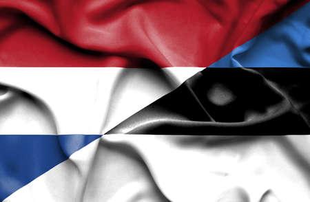 estonia: Waving flag of Estonia and Stock Photo
