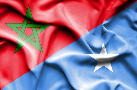 somalian culture: Waving flag of Somalia and Morocco