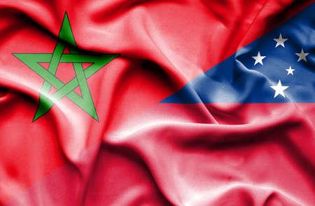 samoa: Waving flag of Samoa and Morocco