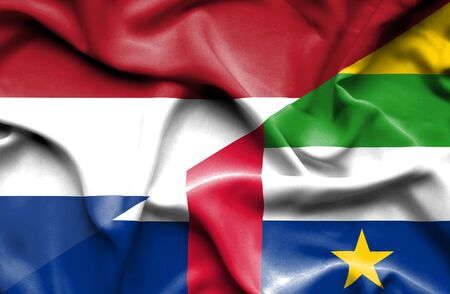 central african republic: Waving flag of Central African Republic and