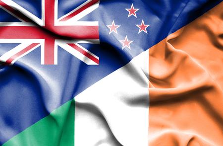 ireland flag: Waving flag of Ireland and New Zealand Stock Photo
