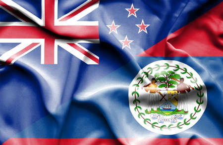 belize: Waving flag of Belize and New Zealand