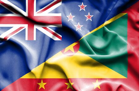 guernsey: Waving flag of Guernsey and New Zealand