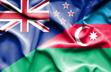 bandera de nueva zelanda: Ondeando la bandera de Azerbaij�n y Nueva Zelanda Foto de archivo