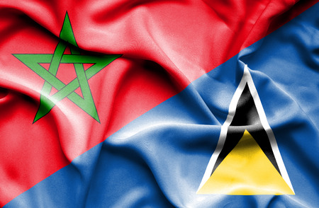 st: Waving flag of St Lucia and Morocco