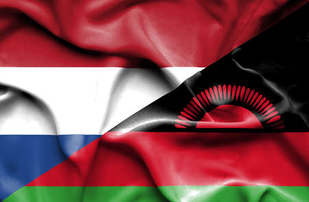 malawian flag: Waving flag of Malawi and Stock Photo