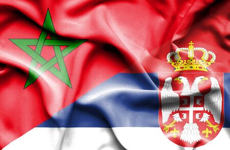serbia: Waving flag of Serbia and Morocco