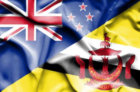 bandera de nueva zelanda: Ondeando la bandera de Brunei y Nueva Zelanda