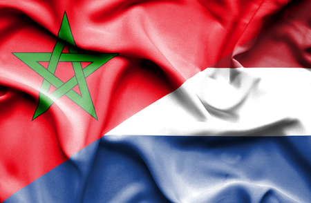 dutch culture: Waving flag of Netherlands and Morocco