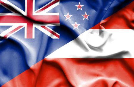 bandera de nueva zelanda: Ondeando la bandera de Austria y Nueva Zelanda