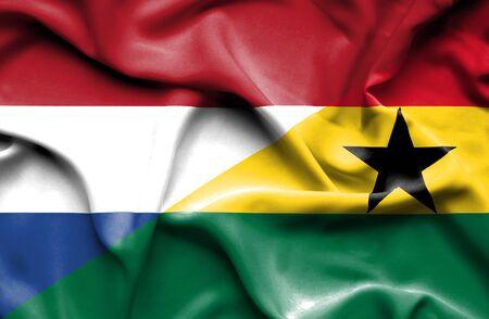 ghana: Waving flag of Ghana and