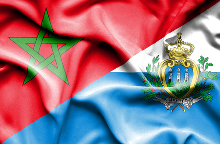 san marino: Waving flag of San Marino and Morocco