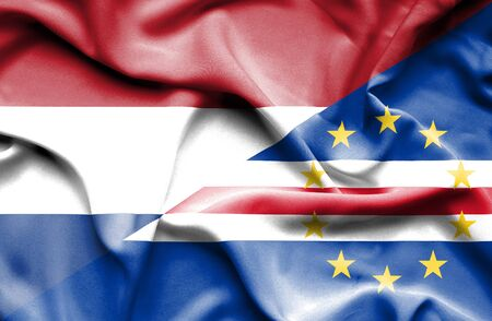 cape verde: Waving flag of Cape Verde and