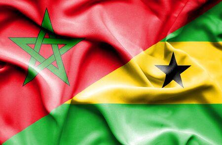 tome: Waving flag of Sao Tome and Principe and Morocco Stock Photo