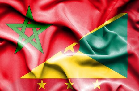 guernsey: Waving flag of Guernsey and Morocco Stock Photo