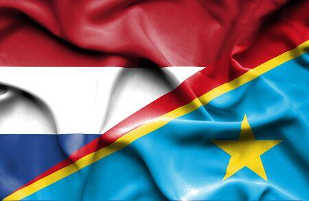 Congo: Waving flag of Congo Democratic Republic and