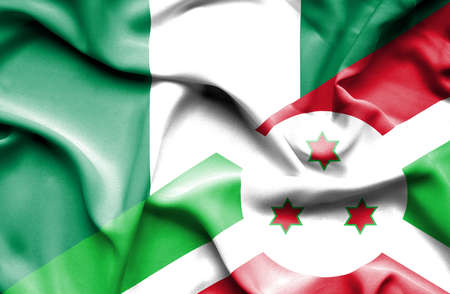 burundi: Waving flag of Burundi and Nigeria Stock Photo