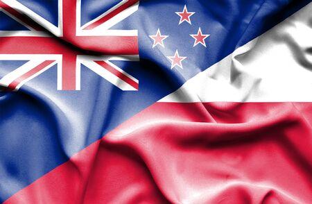 bandera de nueva zelanda: Ondeando la bandera de Polonia y Nueva Zelanda