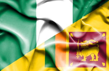 sri: Waving flag of Sri Lanka and Nigeria