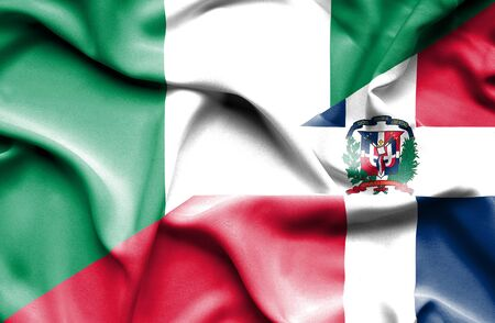 dominican: Waving flag of Dominican Republic and Nigeria Stock Photo