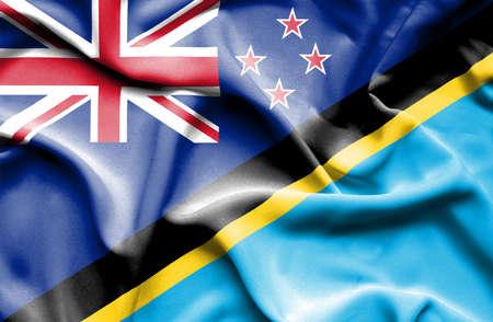 bandera de nueva zelanda: Ondeando la bandera de Tanzania y Nueva Zelanda