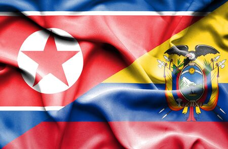 north korea: Waving flag of Ecuador and North Korea