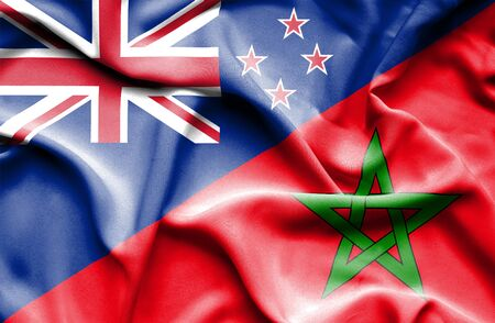 bandera de nueva zelanda: Ondeando la bandera de Marruecos y Nueva Zelanda